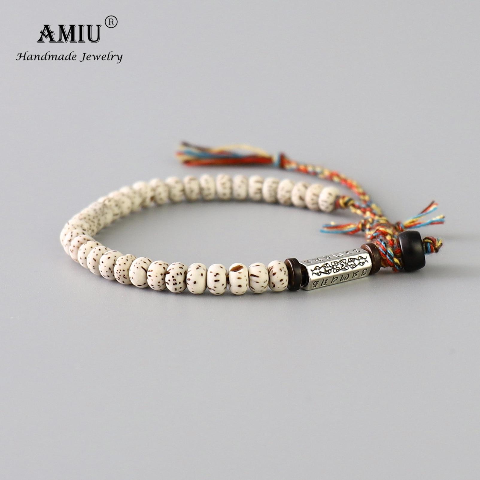 AMIU Tibetan buddhist Braided Cotton Thread Lucky Knots bracelet Natural Bodhi Beads Carved Amulet Handmade Bracelet For Men