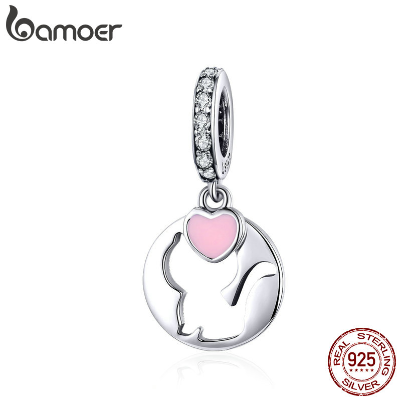 BAMOER Cat Jewelry 925 Sterling Silver Pendant Charm Openwork Kitty Pet Animal Charms For Women DIY Jewelry Accessories SCC1140