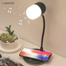 Laopao Qi Wireless Pengisian LED Smart Meja Meja Membaca Lampu Bluetooth Speaker Stepless 360 ° Fleksibel Perawatan Mata Gaya Lampu Malam(China)