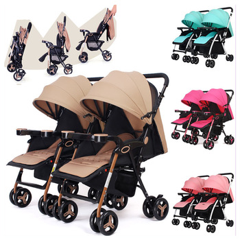 Twins Baby Stroller Can Split Sitting Lying Double Baby Stroller for Twins Light Four Wheels Pram Pushchair Travel Car Stroller twins baby stroller sitting and lying portable baby carriage folding second child artifact double seat twin stroller for newborn