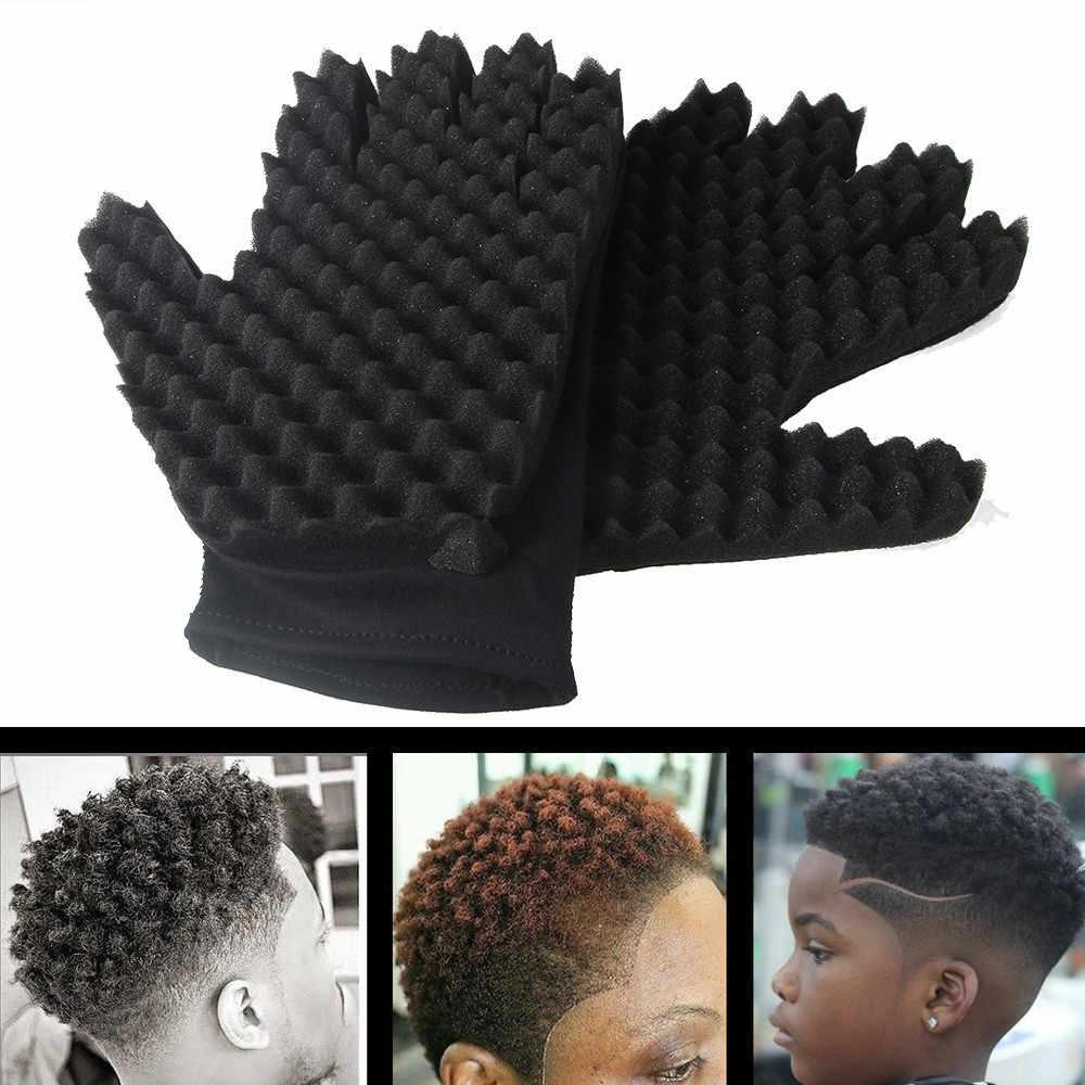 Barber Shop Men Hair Braider Twists Sponge Gloves African Hair Styling Fork Comb Hair Curls Foam For Salon Wholesales / Retail