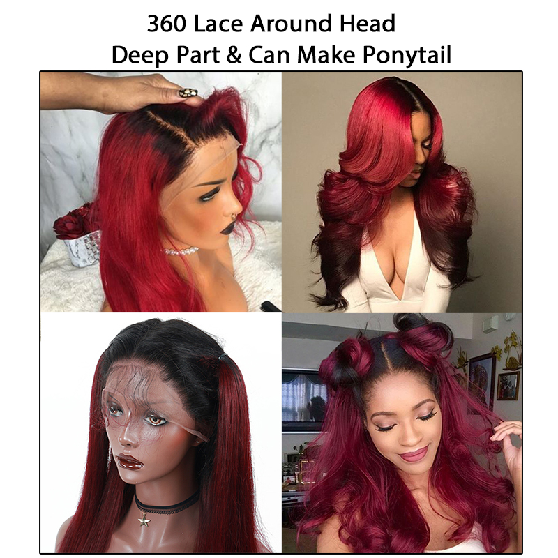 1B 99J Lace Frontal Wig 150% Straight Full Lace Front Human Hair Wigs Ombre Purple Wine Red Aquaman Colorful Wig