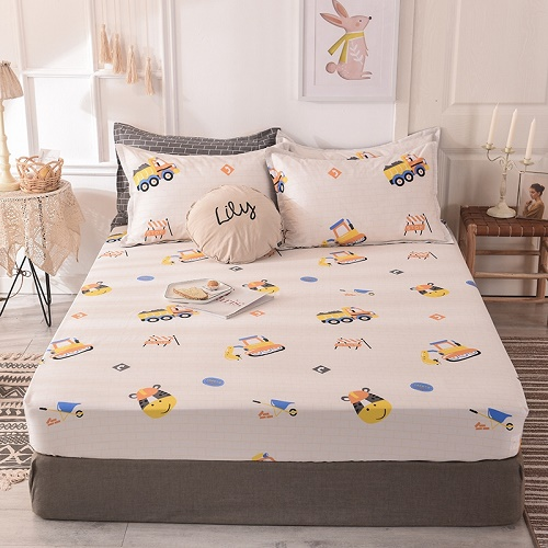 (New On Product) 1pcs 100% Cotton Printing bed mattress set with four corners and elastic band sheets(pillowcases need order) 21