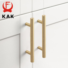 KAK 20pcs Brushed Gold Kitchen Handle Stainless Steel T Bar Door Pull 76mm 96mm Cabinet Knobs and Handles Black Furniture Handle