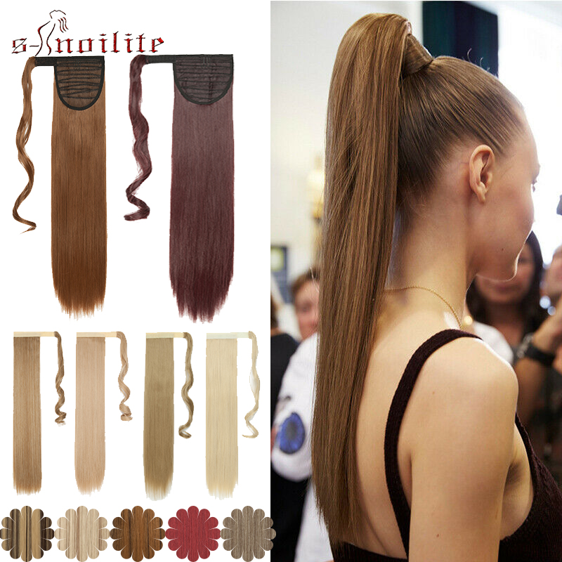 S-noilite Wrap Around Ponytail Clip In Hair Extension Synthetic Straight Hairpiece Extension Fake Hair For Women