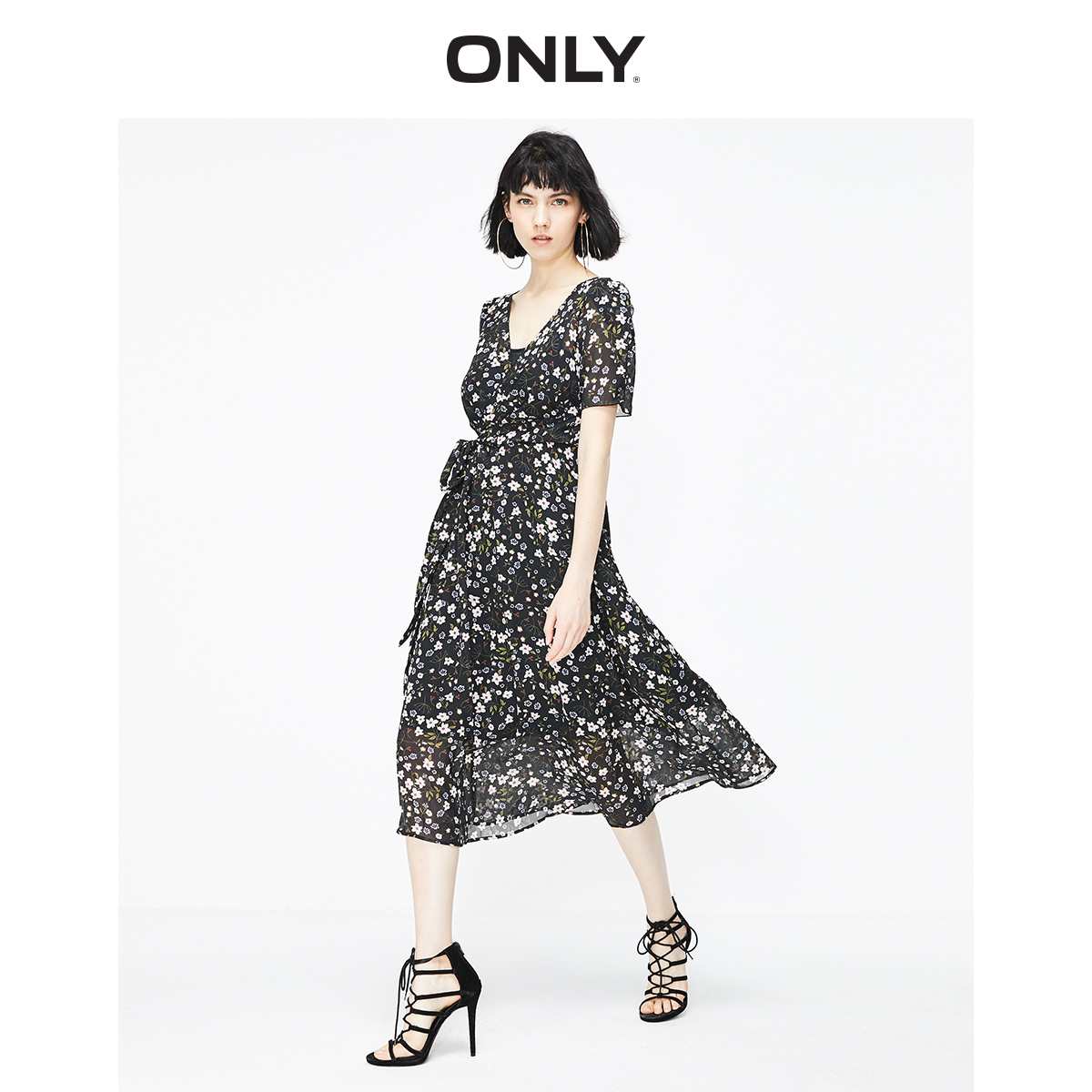 ONLY Women's A-lined Cinched Waist Chiffon Dress | 119107527