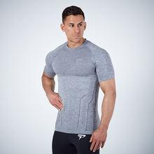 Лидер продаж Мужская Спортивная повседневная облегающая футболка