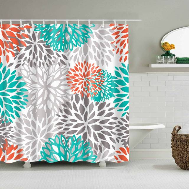 dafield coral shower curtain floral red pink blue teal grey guest master bathroom with hooks