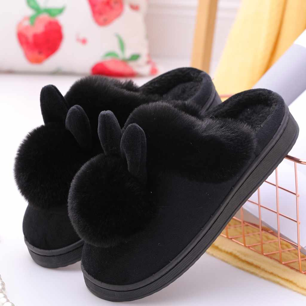 Vrouwen Winter Thuis Harige Konijn Oren Leuke Roze Indoor Pompom Bal Slippers Soft Comfort Schoeisel Schoenen # G2