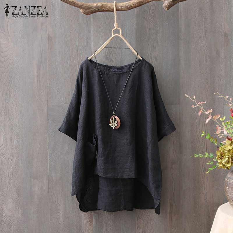 ZANZEA Yaz Bluz Kadınlar Yarım Kollu Tunik Üstleri Düz Iş Gömlek Casual Gevşek Vintage Pamuk Keten Blusas Femininas Artı Boyutu