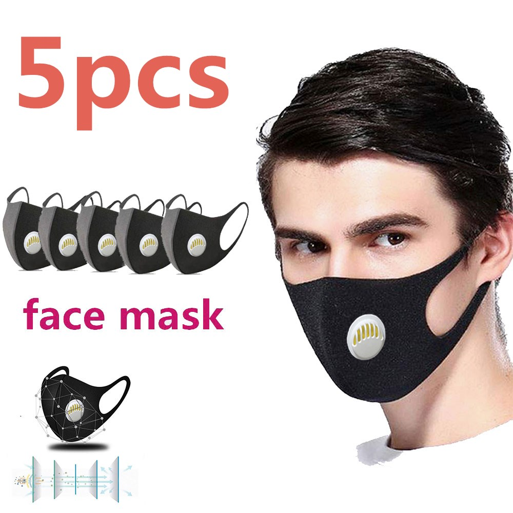 5 Pcs Face Mouth Mask Anti-Infection Virus Activated Carbon Filter Mask Unisex Anti-dust PM2.5 Mouth Facemask Washable Reusable