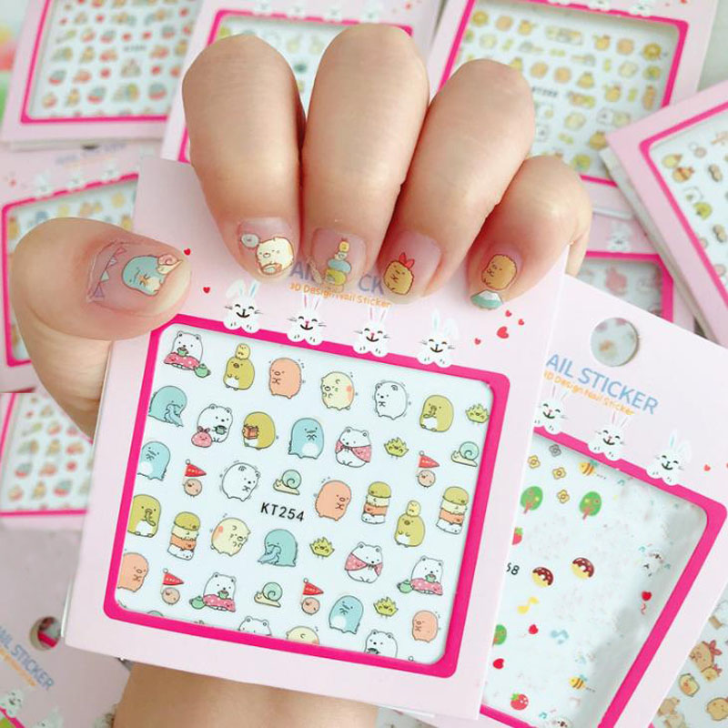 1 Pack Classic DIY Stickers Sumikko Gurashi Penguin Cat Water Decal Nail Stickers Design Sticker For Nail Accessories Toys Gift