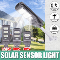 40W 80W 120W LED 태양 거리 조명 벽 램프 빛 레이더 타이밍 램프 정원 야드에 대 한 야외 방수 보안 램프