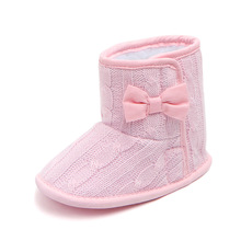 Baby Infant Shoes Winter Warm Soft Crib Shoes For Girls Plus velvet Bowknot Ankle Snow Boots First Walkers 0-18 Months