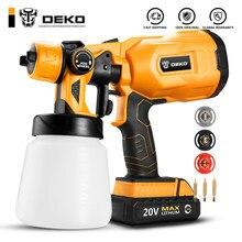 DEKO Cordless Spray Gun, 800ml HVLP Household Paint Sprayer, 3 Nozzle Sizes,20V DC Li-ion Battery High Power ,DKSG20K2