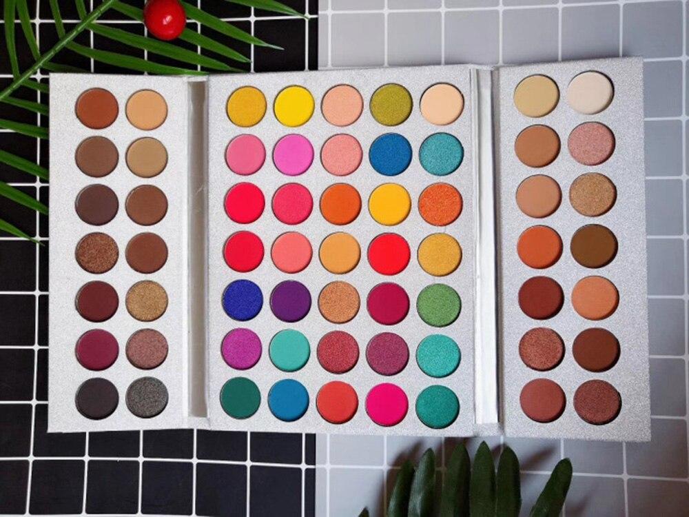 63 Цвета, палитра теней для век, матовые блестящие тени для век, макияж, телесные блестящие тени, пигментный макияж, Sombra