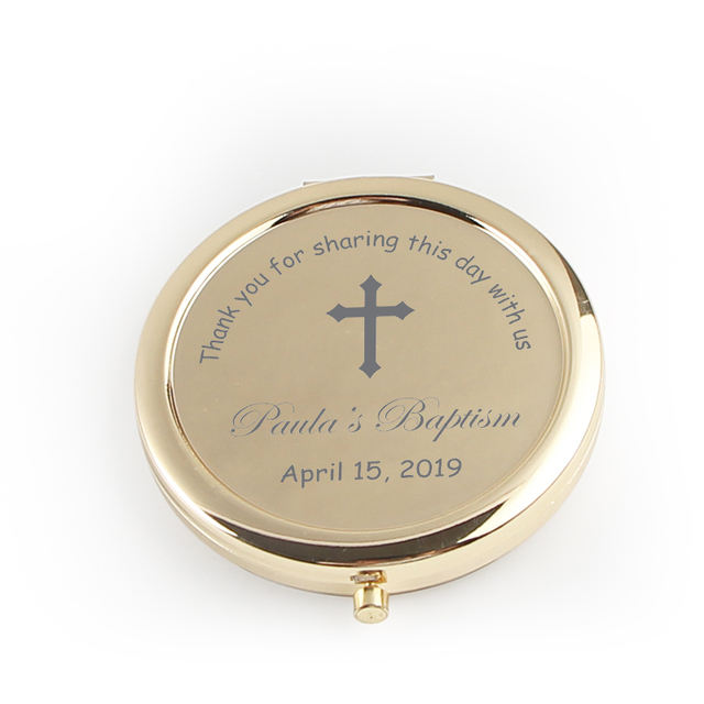 20pcs Personalizzato Battesimo Favore Specchio Della Tasca Oro Specchio Compatto Prima Comunione Souvenir Battesimo Battesimo Regalo Per Gli Ospiti