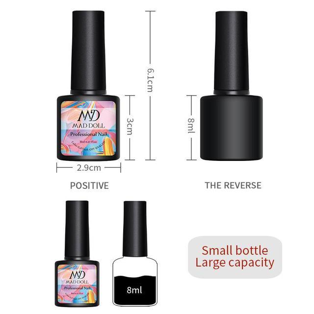 MAD DOLL Hot Sale 8ML UV LED Nail Gel Polish Soak Off Enamel Gel Lacquer Varnish for Manicure Nail Art Design 48 Colors
