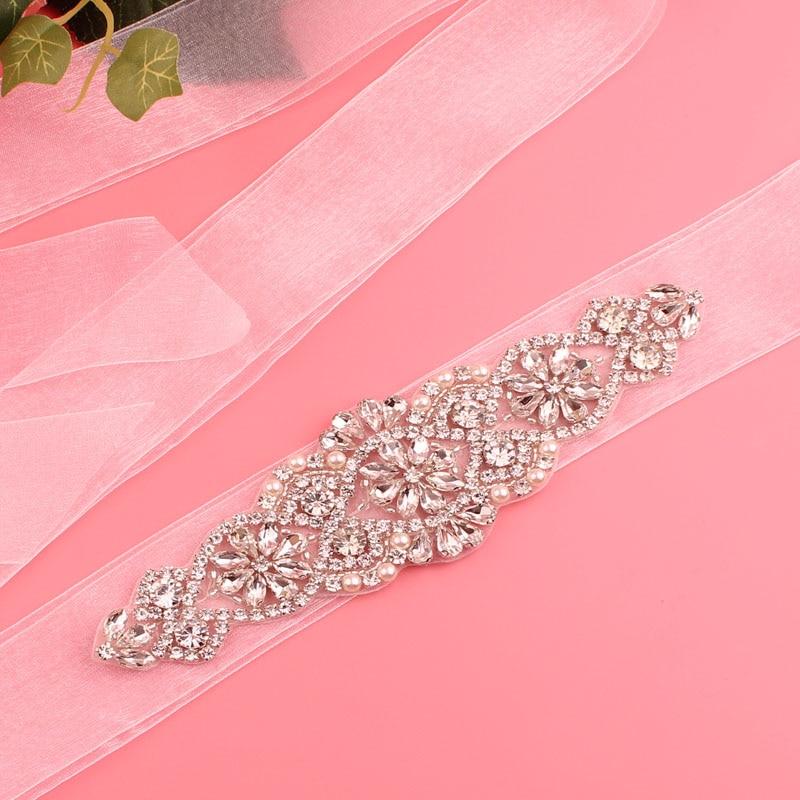 YJWSXF Women's Belt Bridal Belt Rhinestone Wedding Dress Belt Crystal Pearl Belt Wedding Accessories