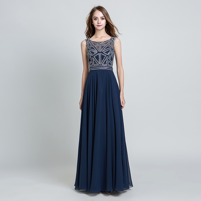 Темно-синие платья для выпускного вечера, украшенные бисером и жемчугом, шифоновые длинные вечерние платья на молнии сзади, длина до пола