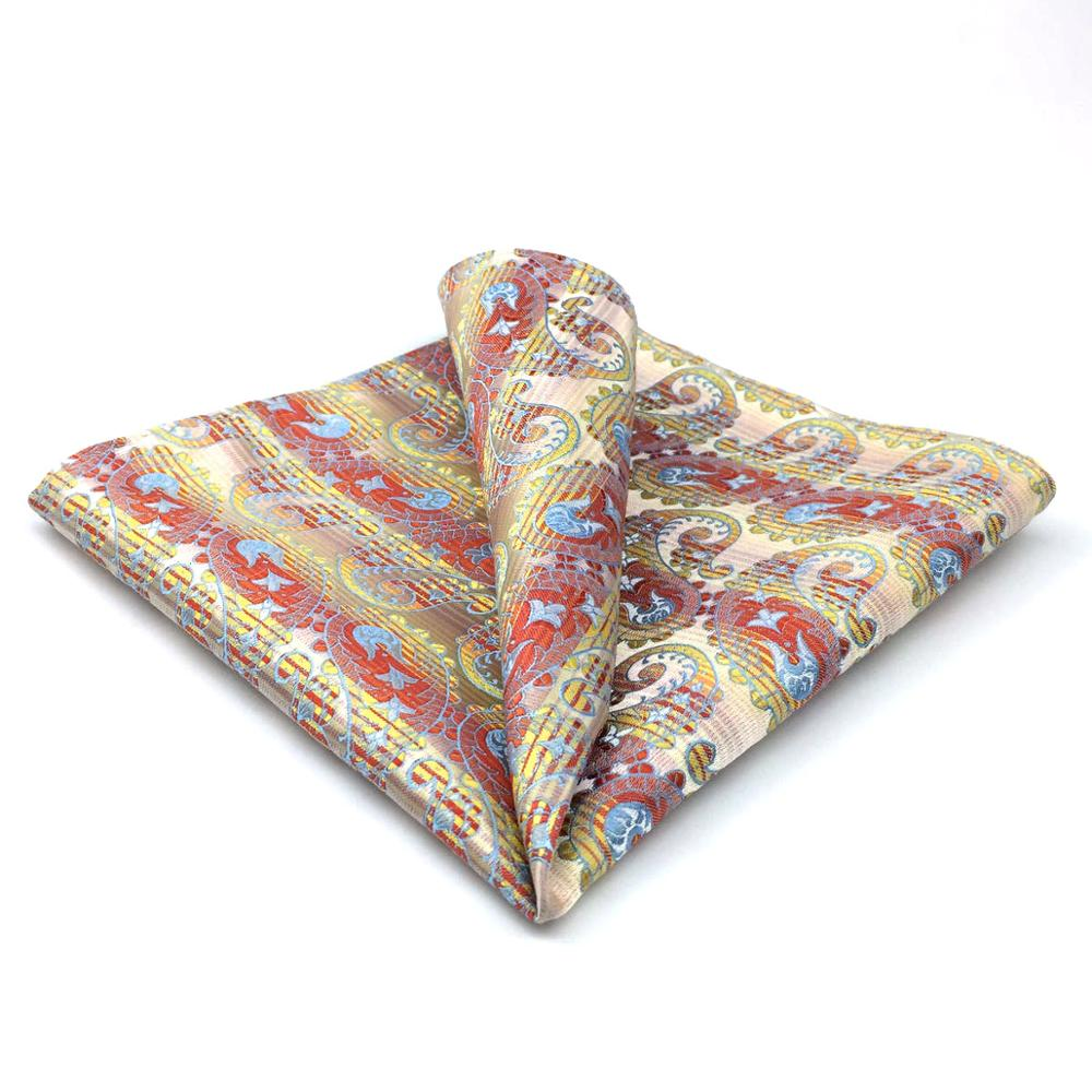 QH4 Paisley Yellow Blue Handkerchief Silk Pocket Square For Men Silk
