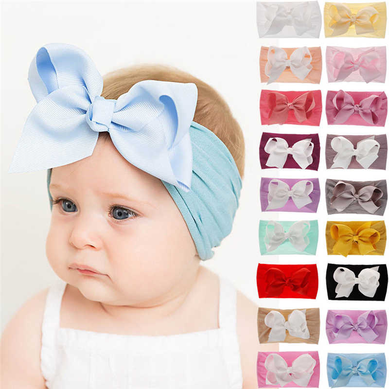 Soft Baby// Girls Kids Toddler Bow Hairband Headband Turban Big Knot Head-Wrap