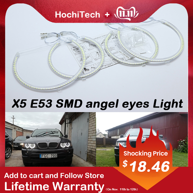HochiTech For Bmw E53 X5 1999-2004 Ultra Bright SMD White LED Angel Eyes 2600LM 12V Halo Ring Kit Daytime Running Light DRL