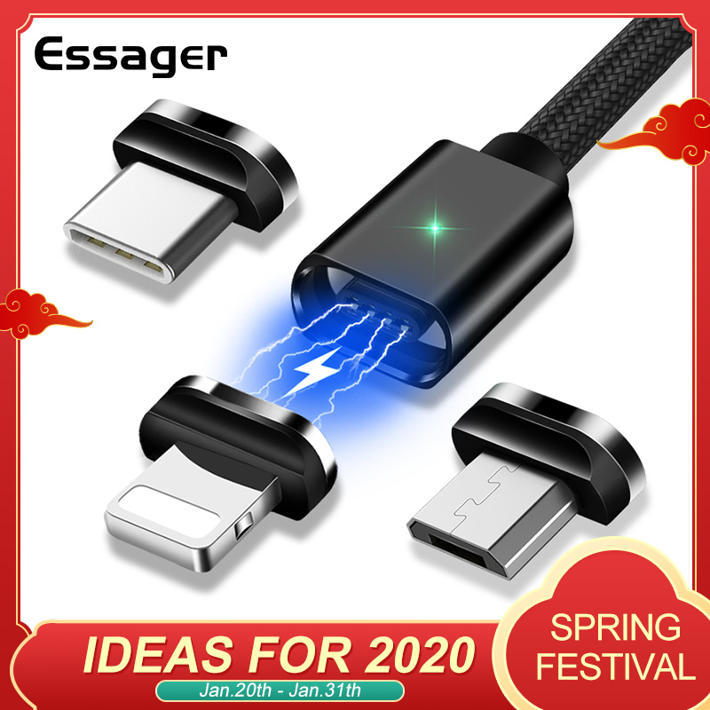 Essager Magnetic Micro USB Cable For iPhone Samsung Fast Charging Data Wire Cord Magnet Charger USB Type C 3m Mobile Phone Cable-in Mobile Phone Cables from Cellphones & Telecommunications on AliExpress