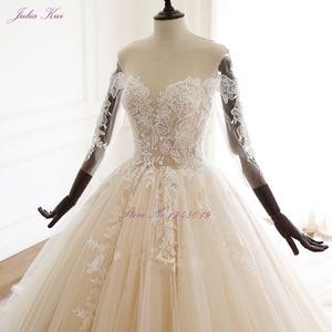 Image 3 - Julia Kui uroda aplikacje przepiękna suknia balowa suknia ślubna w stylu Vintage koronki z kryształkami trzy czwarte zasznurować suknie ślubne