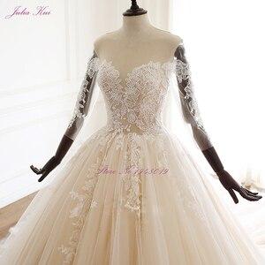 Image 3 - Julia kui beleza apliques querida bola vestido de casamento do vintage frisado renda três quartos rendas acima vestidos de casamento