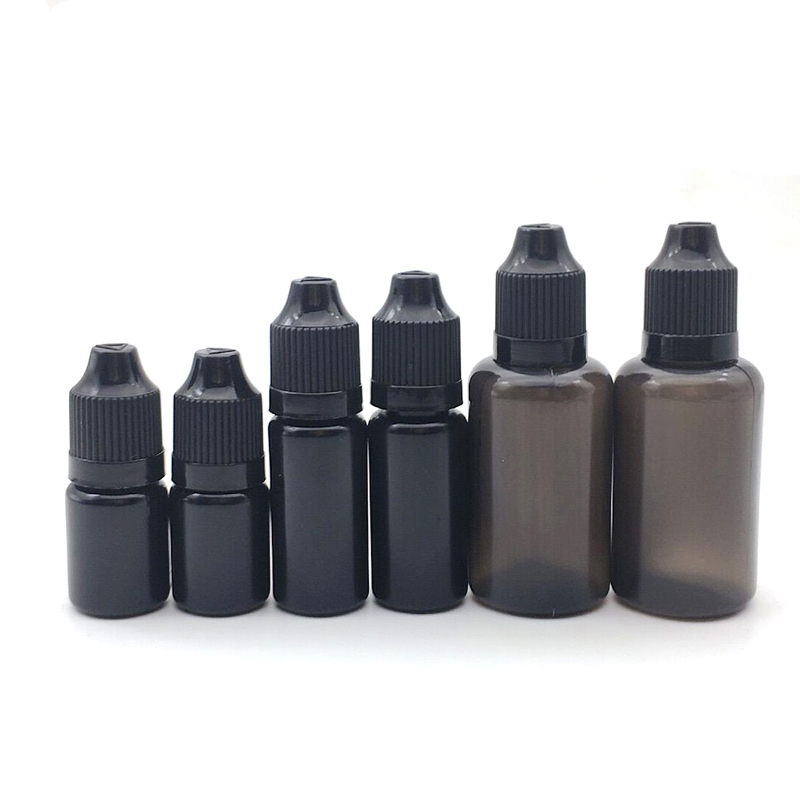 50pcs Black 5ml 10ML 30ML PE E Liquid Bottle Easy To Squeeze Plastic Dropper Bottles With Childproof Cap Needle Bottles