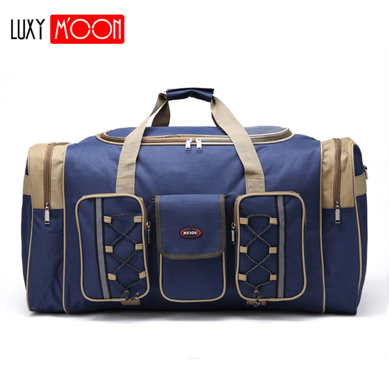 Thick Canvas Casual Duffle Bag Waterproof Mens Travel Bags Long Strap Anti scratch Multi pocket Large