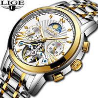 LIGE luxus Automatische Mechanische Uhr Männer Klassische Business Männer Uhr Tourbillon Wasserdichte Männliche Armbanduhr Relogio Masculino