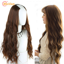 "MEIFAN U-Shaped Half Head Wavy Wigs for Women 24"" Clip in Hair Extension Synthetic Natural False Hairpieces Invisible Black Wig(China)"