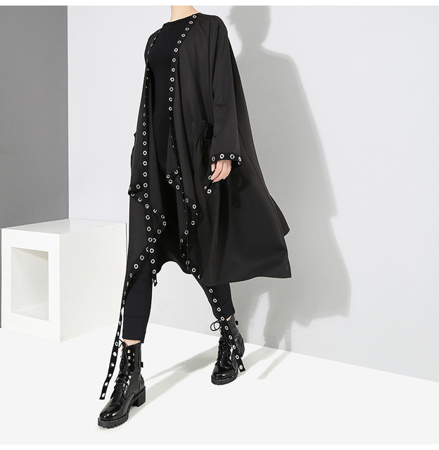 [EAM] Loose Fit Black Hollow Out Ribbon Pleated Big Size Jacket New V-collar Long Sleeve Women Coat Fashion Spring 2021 1D756 6