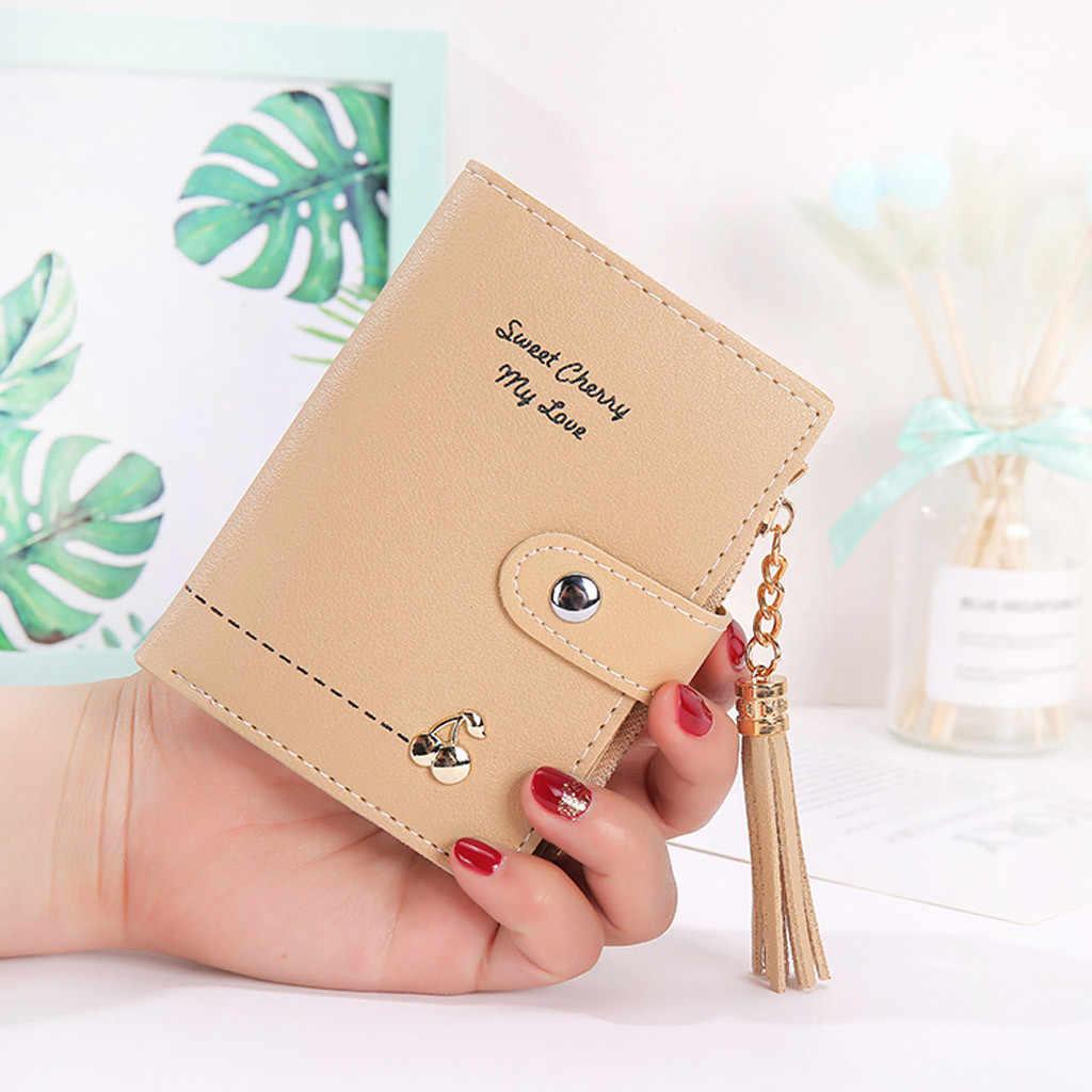 Tassel bonito curto carteira feminina carteiras moda moeda bolsa de embreagem com zíper portátil pequenos cartões portfel y6