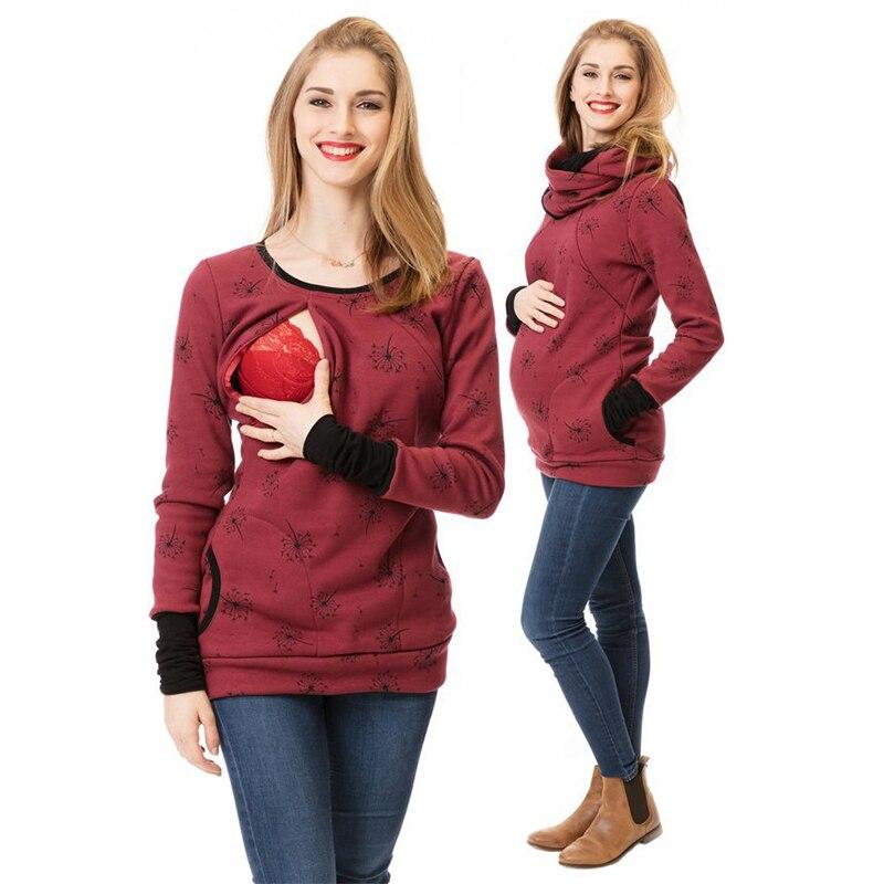 Macierzyński bluza z kapturem zima ciąża odzież dla ciężarnych kobiet karmienie piersią topy z kapturem T Shirt jesień laktacja odzież