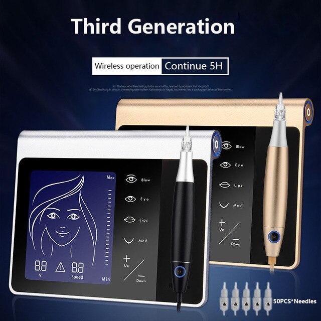 חדש מגע מסך קבוע איפור מכונת ערכת גבות שפתיים אייליינר מכונת עם 50pcs מחסנית Neeldes נטענת סוללה