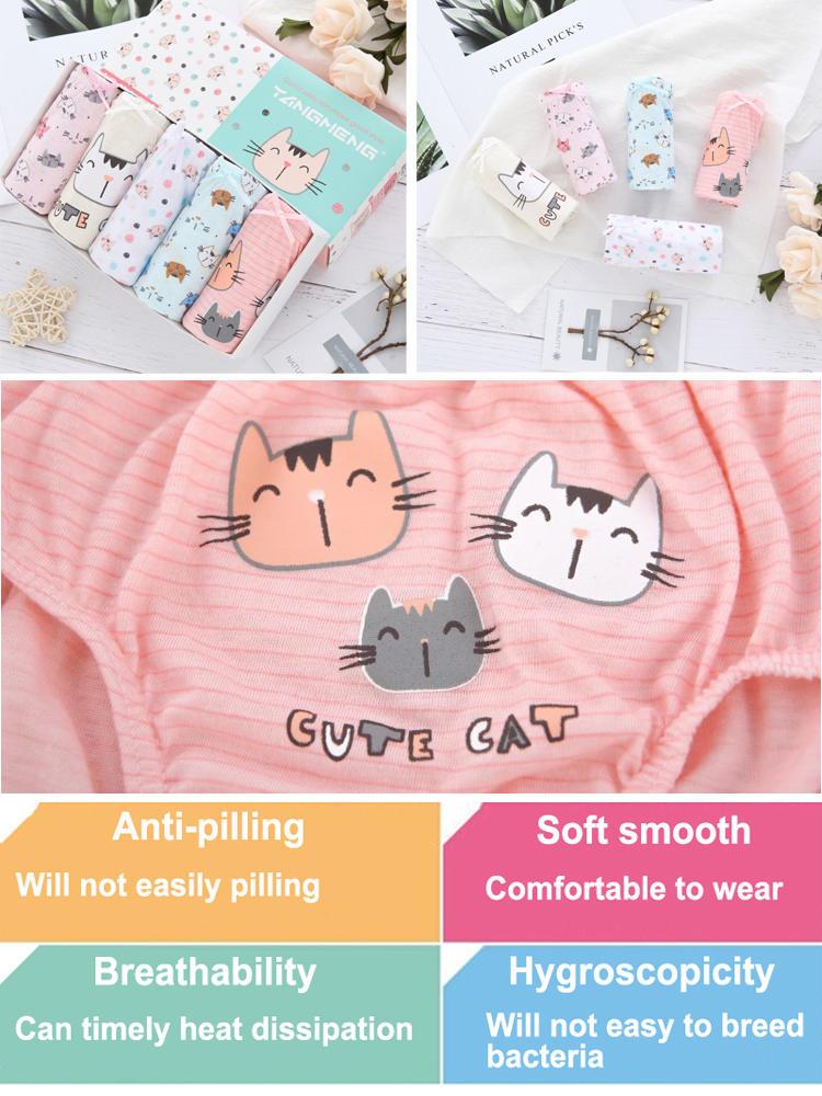 Kids Underpants Briefs Cotton Cartoon Children Cute Cat Girls 5pcs/Lot Daughter 1-14Y