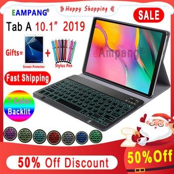 Fall für Samsung Galaxy Tab EINE 10,1 2019 Tastatur Fall T510 T515 SM T510 SM T515 Leder Abdeckung 7 Farben Backlit Bluetooth tastatur|Tablets & E-Book-Hülle|Computer und Büro -