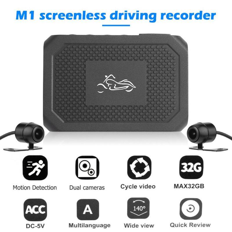 M1 dayanıklı görünüm motosiklet DVR Dash kamera usta imalatı tam HD 1080P ön + 720P arka motosiklet Dash kamera kaydedici title=