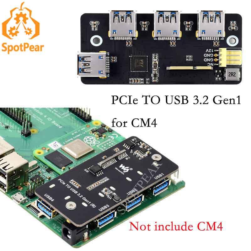 Pcie para usb 3.2 adaptador gen1 4x hs usb para raspberry pi módulo 4 cm4 oficial io placa