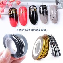 0.5 Mm Nail Striping Tape Line Zilver Goud Laser Lijm Holo 3D Sticker Decor Diy Strips Nagellak Accessoires Tool LA1009 1