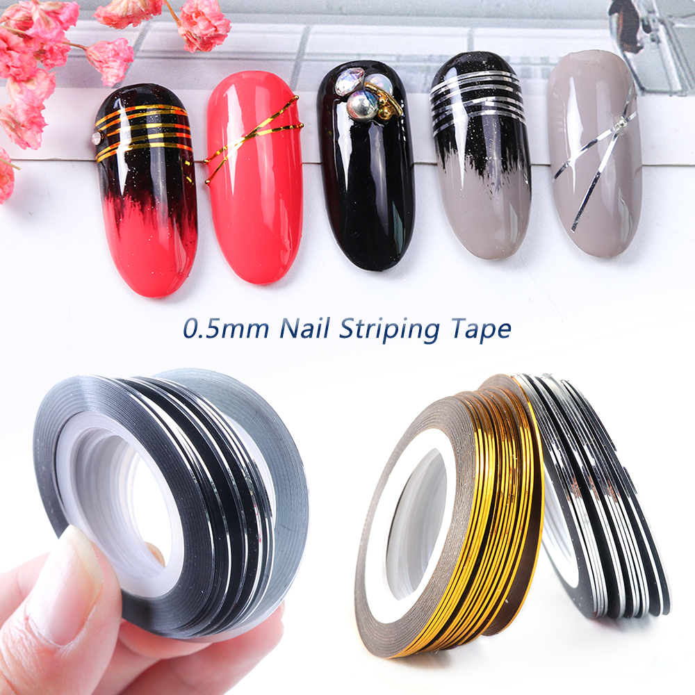 0.5mm Nail Striping Tape Line Silver Gold Laser Adhesive Holo 3D Sticker Decor DIY Strips Nail Polish Accessories Tool LA1009-1