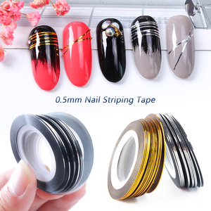 Image 1 - 0.5mm Nail Striping Tape Line Silver Gold Laser Adhesive Holo 3D Sticker Decor DIY Strips Nail Polish Accessories Tool LA1009 1