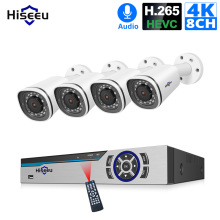 Hiseeu 4K Security Camera System 8CH POE NVR 8MP Outdoor Waterproof POE IP Cameras H.265 CCTV Video Surveillance Kit