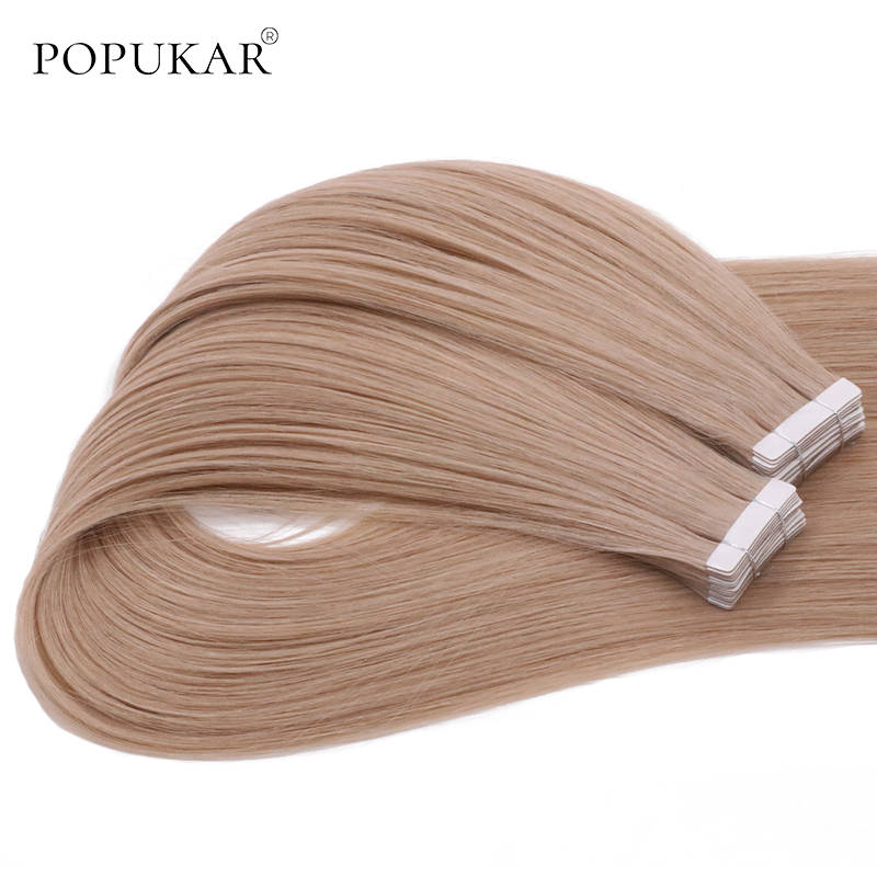 Popukar Ash Blonde High Quality Brazilian Natural Human Hair 40PCS 100g Invisible Tape In Hair Extensions