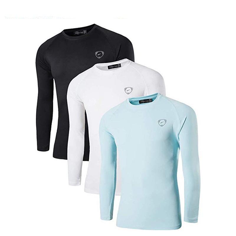 Jeansian 3 pacote upf dos homens 50 + uv proteção solar ao ar livre camisa de manga longa camiseta camiseta praia verão la245 packd