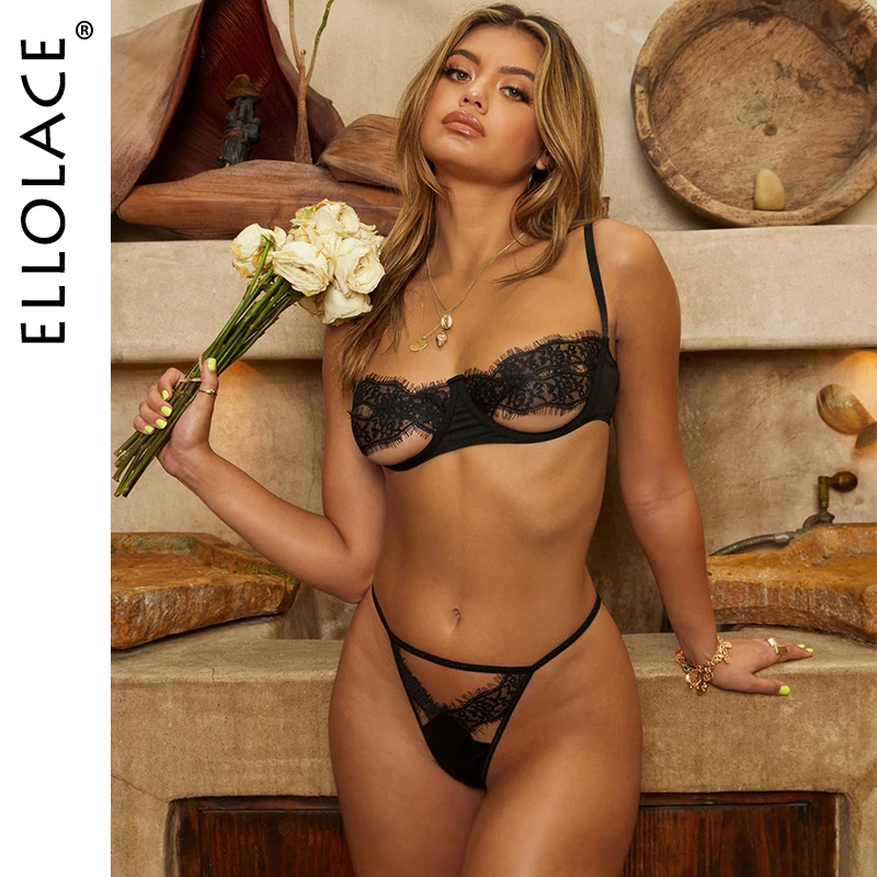 Ellolace Sexy Lace Hollow Out Underwear Set Women Black Lingerie Set 2 Piece Bra And Thong 2020 Fashion Female Sexy Party Set