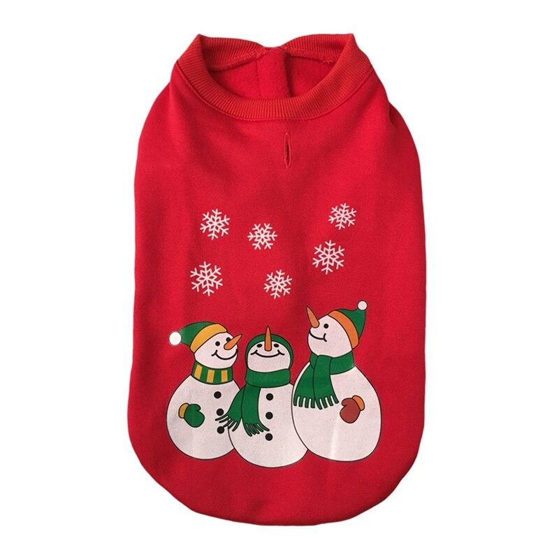 Winter Dog Coats Snowman Santa Printed Coat Jacket Clothes Christmas Xmas Warm Sweatshirt For French Bulldog Chihuahua Pd